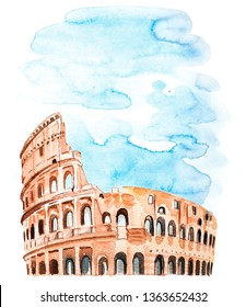 Watercolor poster with with the architecture of Rome Colosseum.