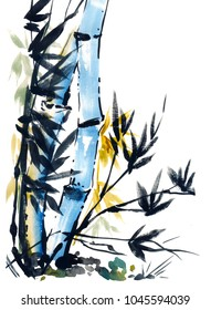 watercolor poster with bamboo in japanese style
