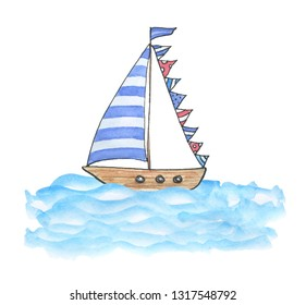 Watercolor poster postcard with hand drawn yacht, ship, vessel, boat  in sketch and doodle style on white background