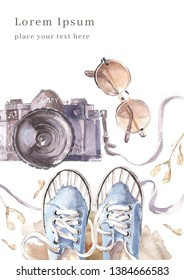 Watercolor poster template with camera, sneakers and sun glasses. Walkin in early spring