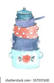 Watercolor pots with polka dot print .