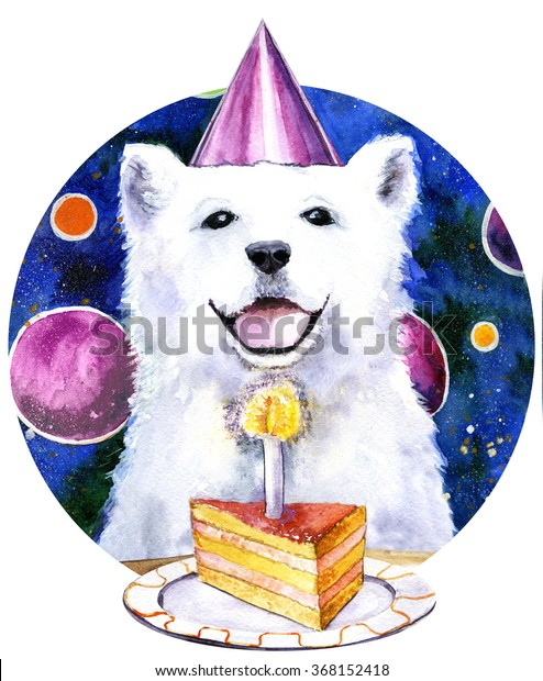 Pleasant Watercolor Print Happy Birthday Dog Cake Stockillustratie 368152418 Birthday Cards Printable Giouspongecafe Filternl
