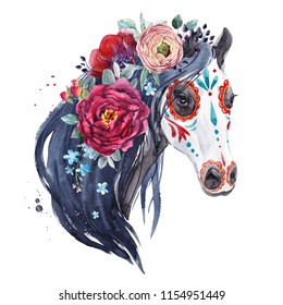 Watercolor print of the holiday Muertos, the head of a horse with the flowers of peony and woundinkulus, tender blue forget-me-nots, black mane. Halloween illustration