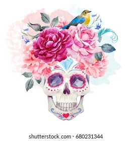 Watercolor print Mexican holiday day of the dead, a man's skull with peony flowers and roses, small bird, invitation card