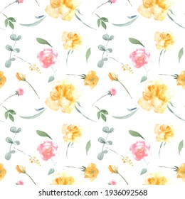 Watercolor print with roses, yellow and pink flowers and herbs. Seamless pattern with pink flowers for fabric, paper or wallpaper.