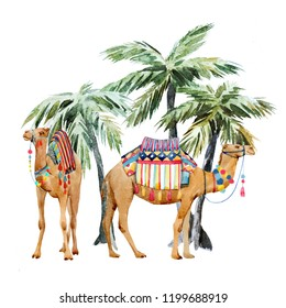 Watercolor print two camels standing under palm trees, tropical design with animals.