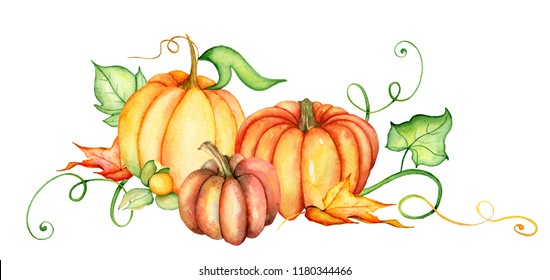 Watercolor pumpkin and autumn leaves. Harvest composition. Happy Thanksgiving day. Hand drawn illustration  on the white background