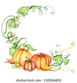 Watercolor pumpkin and autumn leaves wreath. Harvest composition. Happy Thanksgiving day. Hand drawn illustration  on the white background