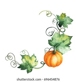 Watercolor pumpkin, hand-drawn isolated elements on the white background