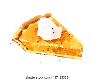 Watercolor Pumpkin Pie Dessert Food Hand Painted Thanksgiving Illustration isolated on white background