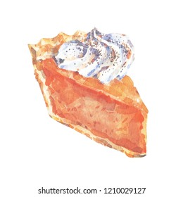 Watercolor Pumpkin Pie. Food illustration on white background