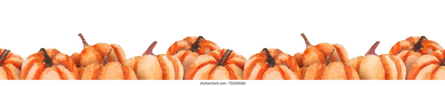 Watercolor pumpkins seamless border