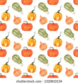 Watercolor pumpkins seamless pattern. Hand drawn harvest background.