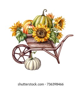 watercolor pumpkins in the wheelbarrow, sunflowers, Thanksgiving, farm harvest, Halloween illustration, autumn design, fall, holiday clip art isolated on white background