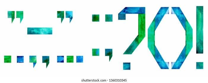 Watercolor punctuation marks (period,  question mark, exclamation point, comma, semicolon, colon, parentheses, apostrophe, quotation, dash): on white background. Illustration.