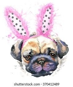 Watercolor puppy Pug breed of dog illustration