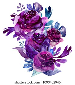 Watercolor purple flowers clip art. Floral bouquet illustration