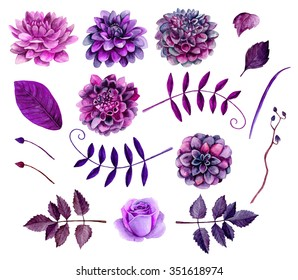 Watercolor purple flowers clipart . Floral clip art