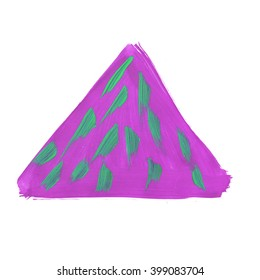 watercolor  purple green handmade triangle isolated on white background