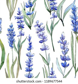 Watercolor purple lavender flower. Floral botanical flower. Seamless background pattern. Fabric wallpaper print texture. Aquarelle wildflower for background, texture, wrapper pattern, frame or border.
