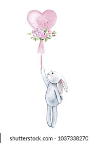 Watercolor rabbit with pink heart balloon. Isolated on white background. Perfect for children's prints, posters, invitations, etc.