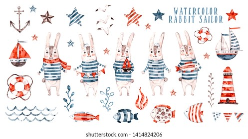 Watercolor rabbit sailor, cartoon seaman set. Cute childish character collection, aquarelle illustration, compilation with marine elements, lifebuoy, seagull and anchor, wave, fish and lighthouse