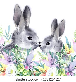 Watercolor rabbits in a spring bouquet. Isolated on white background. Easter illustration.