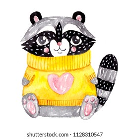 Watercolor raccoon. Cute yellow sweater with heart.