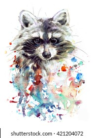 Watercolor raccoon on the colorful background