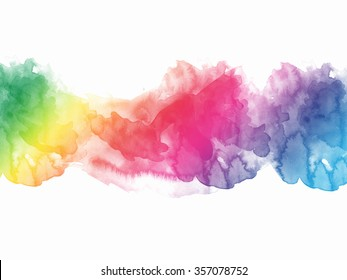 Watercolor rainbow border