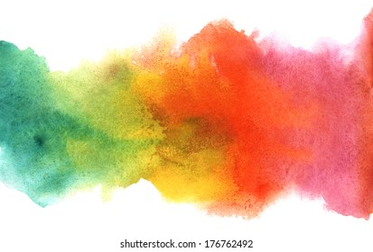 Watercolor rainbow border on wet paper. Composition for scrapbook elements, invitation or greeting card design.