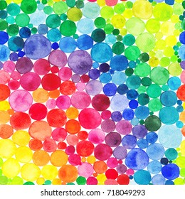 Watercolor Rainbow circles seamless pattern. Vitamin concept