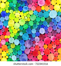Watercolor Rainbow circles seamless pattern. Vitamin concept.