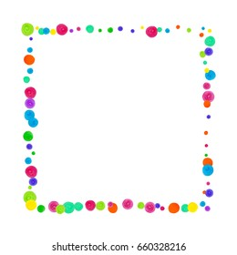 Watercolor rainbow colored confetti background. Colorful watercolor dots on white background. Square border frame with sparse spots. Isolated confetti for party in warm colors. Hand drawn illustration