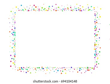 Watercolor rainbow colored confetti background. Colorful watercolor dots on white background. Square border frame with small spots. Isolated confetti frame for holiday party. Horizontal illustration.
