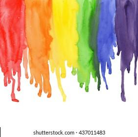 Watercolor Rainbow Colors Gay Lesbian LGBT illustration