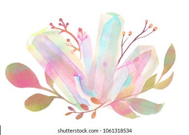 watercolor rainbow crystal cluster foliage bouquet ornament