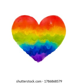 Watercolor rainbow heart isolated at white background. Symbol of gay, lesbian and LGBT love.