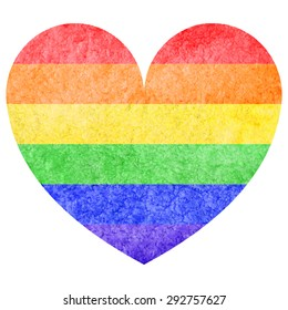 Watercolor rainbow lgbt love wins heart isolated