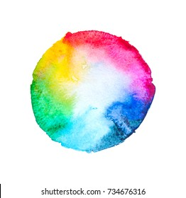 watercolor rainbow round circle texture splash isolated on white background, for text, banner, card, invitation, design for tag and banner, logo, brand,