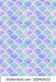 watercolor rainbow scales of mermaid. seamless pattern