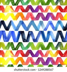 Watercolor rainbow seamless pattern. Motif zigzag, chevron