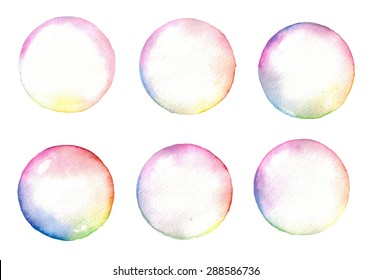 Watercolor rainbow soap Bubbles set isolated