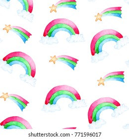 Watercolor rainbow and star pattern. For design, print or background.