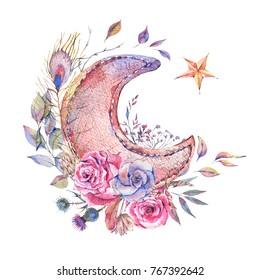 Watercolor Ramadan greeting card, moon, stars, roses and wild flowers, Ramadan Kareem natural decoration on white background.