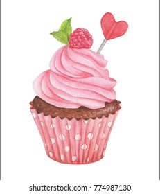 Watercolor raspberry cupcake