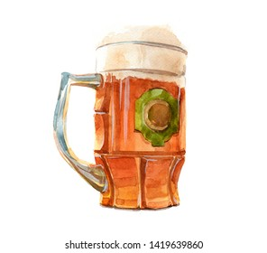 Watercolor realistic beer glass and a can of beer on a white background illustration.