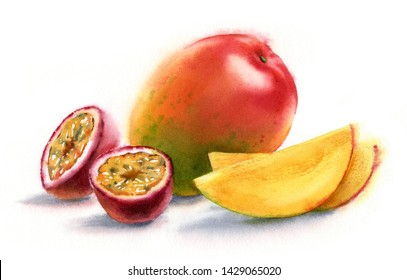 Watercolor realistic botanical illustration mango whole element with slices and two halves of passion fruit fresh ripe sweet yellow with red fruit commercial isolated on white hand painted composition