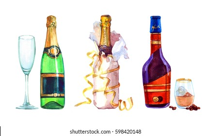Watercolor realistic Bottle of liquor and a bottle of champagne and glass isolated on a white background illustration.