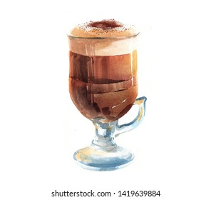 Watercolor realistic cappuccino  cup isolated on a white background illustration.